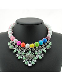 Exaggerated Green Pearls&diamond Decorated Color Matching Clavicle Necklace