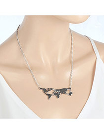 Fashion Silver Color Earth's Tectonic Plates Pendant Decorated Simple Necklace