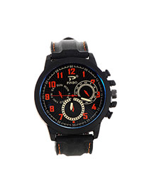 Fashion Orange Big Digital Decorated Pure Color Strap Big Dial Design Watch