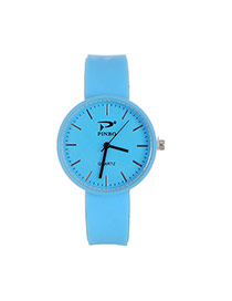 Fashion Blue Pure Color Decorated Big Dial Design Simple Watch