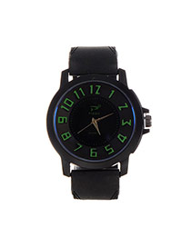 Fashion Green Big Digital Decorated Pure Color Strap Big Dial Design Watch