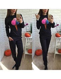 Fashion Black Fuzzy Balls Decorated Ice Cream Shape Long Sleeve Plus Velvet Sportswear Suits
