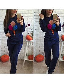 Fashion Navy Fuzzy Balls Decorated Ice Cream Shape Long Sleeve Plus Velvet Sportswear Suits