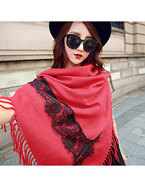 Personalized Red Long Tassel Pendant Decorated Buttom Design Lace Shawl