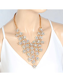 Fashion Multi-color Oval Shape Diamond Decorated Hollow Out Simple Choker
