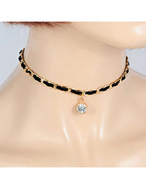 Fashion Black Round Shape Diamond Pendant Decorated Simple Choker