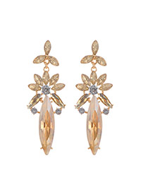 Fashion Gold Color Oval Shape Diamond Decorated Flower Shape Simple Earrings