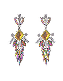 Fashion Yellow+plum Red Square Shape Diamond Decorated Hollow Out Design Earrings