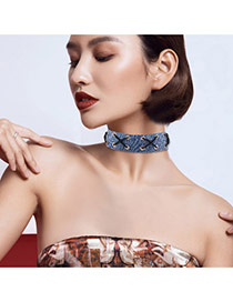 Fashion Navy X Shape Decorated Simple Wide Choker