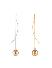 Fashion Gold Color Metal Round Shape Pendnat Decorated Pure Color Simple Earrings