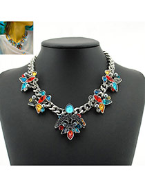 Personality Multi-color Oval Shape Diamond Decorated Short Chain Necklace
