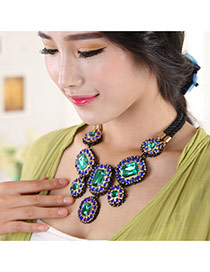 Delicate Green Square Shape Diamond Decorated Double Layer Necklace
