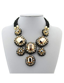 Delicate Gold Color Square Shape Diamond Decorated Double Layer Necklace