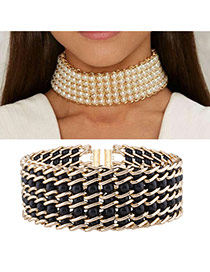 Vintage Black Round Shape &chain Decorated Simple Choker