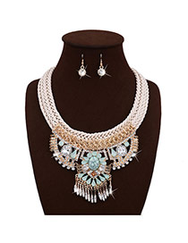 Exaggerated Green Geometric Pendant Decorated Hand-woven Chain Tassel Jewelry Sets