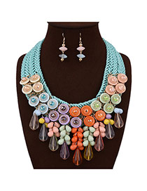 Exaggerated Multi-color Waterdrop Bead Pendant Decorated Hand-woven Chain Jewelry Sets
