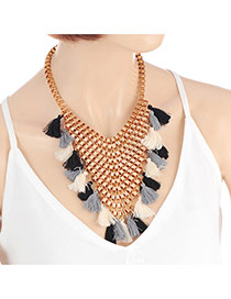 Bohemia Black Tassel Decorated Hollow Out Design Necklace