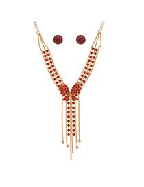Fashion Red Alloy Diamond Single Layer Bowknot Necklace Set