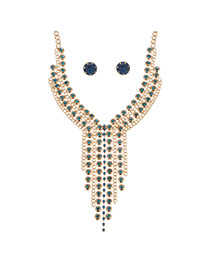 Fashion Blue Alloy Diamond Single Layer Round Necklace Set