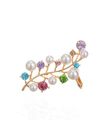 Fashion Multicolor Pearls&diamond Decorated Color Matching Brooch