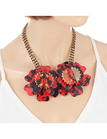 Exaggerate Red Flower Pendant Decorated Simple Short Chain Necklace