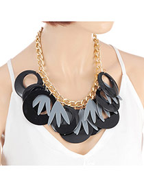 Exaggerate Black Round Shape Decorated Simple Tassel Necklace