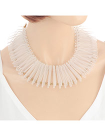 Fashion White Square Shape Decorated Pure Color Simple Necklace