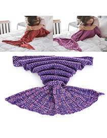Sweet Purple Pure Color Decorated Merman Design Simple Blanket