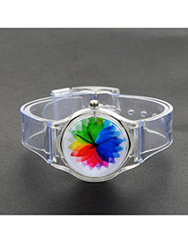 Fashion Multi-color Painted Design Decorated Simple Wrist Watch