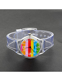 Fashion Multi-color Color-macthing Decorated Simple Wrist Watch