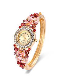 Fashion Gold Color+red Diamond Decorated Flower Shape Design Color Matching Watch