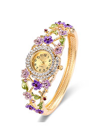 Fashion Gold Color+purple Flower Decorated Hollow Out Design Color Matching Watch