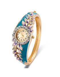 Fashion Gold Color+purple Leaf&diamond Decorated Round Dial Shape Simple Watch