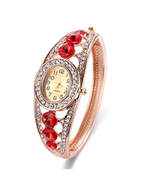 Fashion Rose Gold Round Shape Diamond Decorated Hollow Out Design Watch