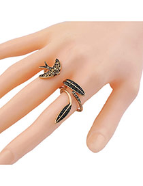 Vintage Gold Color Leaf&swallow Shape Design Simple Opening Ring