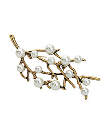 Fashion Gold Color Pearls Decorated Branch Design Simple Brooch