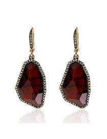 Fashion Red Irregular Shape Diamond Decorated Simple Earrings
