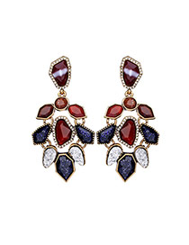 Fashion Multi-color Irregular Shape Diamond Decorated Hollow Out Earrings
