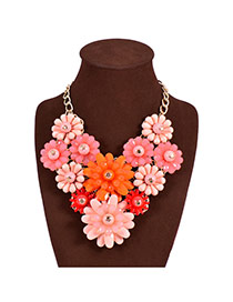 Fashion Pink Flower Decorated Color Matching Design Short Collarbone Necklace