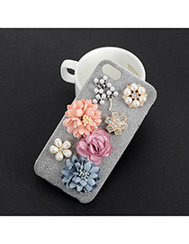 Sweet Gray Three Flower&pearl Decorated Prue Color Iphone7 Case