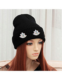 Fashion Multi-color Diamond Flower Shape Decorated Pure Color Wool Hat