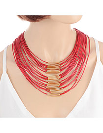Fashion Red Color Matching Decorated Multi-layer Design Magnet Necklace