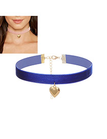 Fashion Sapphire Blue Heart Pendant Decorated Color Matching Width Choker