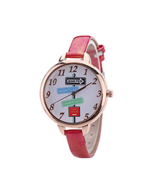 Fashion Plum Red Landmark Pattern Decorated Round Dail Thin Strap Woman Watch