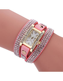 Fashion Pink Diamond Decorated Square Shape Dial Multi-layer Watch