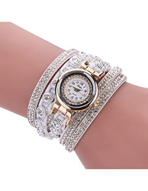 Fashion White Diamond Decorated Round Shape Dial Multi-layer Watch