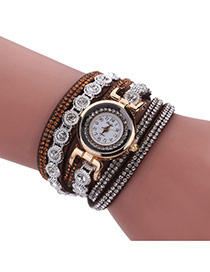 Fashion Brown Diamond Decorated Round Shape Dial Multi-layer Watch
