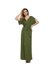 Sexy Green Pure Color Decorated Short Sleeve V Neckline Long Dress