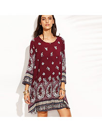 Fashion Claret Red Painting Flower Pattern Decorated Long Sleeve Simple Dress