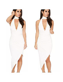 Fashion White Pure Color Decorated Off-the-shoulder V Neckline Long Dress